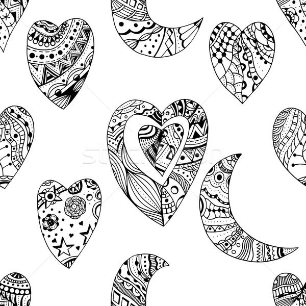 декоративный сердце полумесяц рисованной любви болван Сток-фото © frescomovie