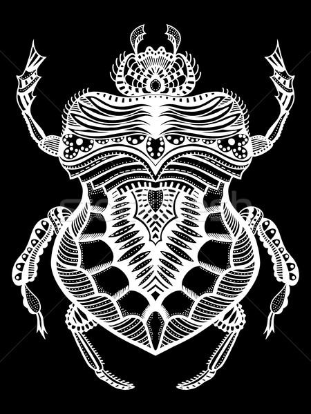 рисованной жук черно белые стилизованный болван этнических Сток-фото © frescomovie