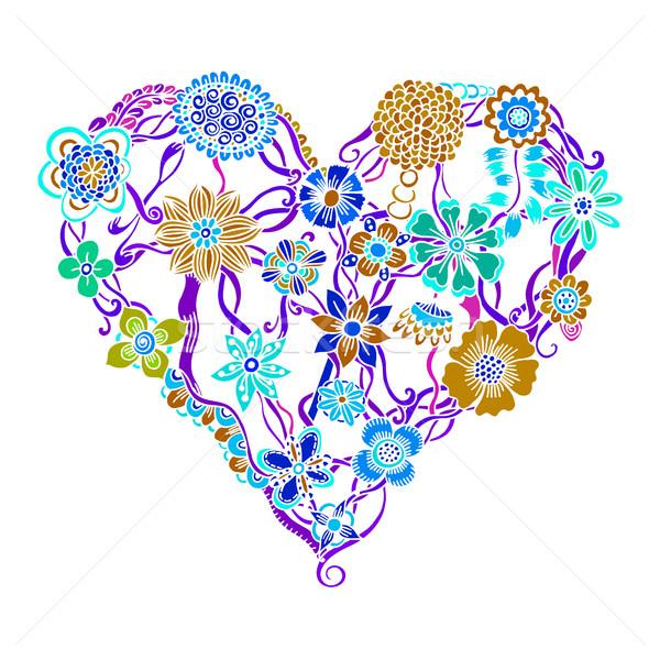 ярко цветок сердце психоделический изолированный Сток-фото © frescomovie