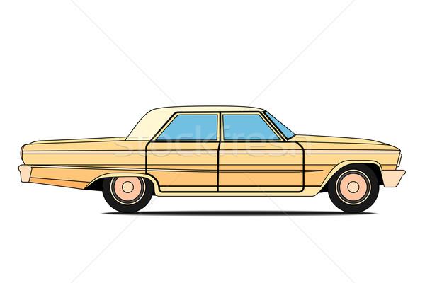 Stary samochód żółty odizolowany ciało powrót czarny Zdjęcia stock © frescomovie