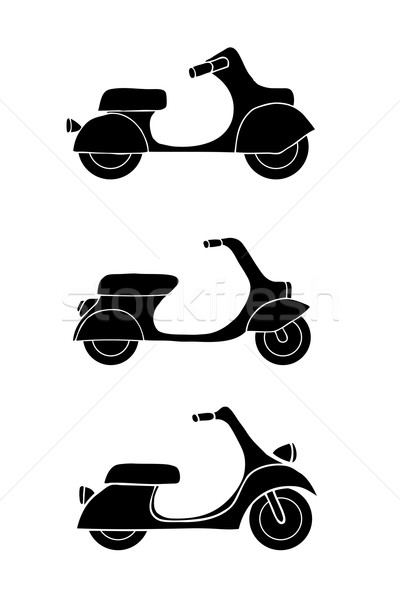 Set of transport icons - scooter and moped Stock photo © frescomovie