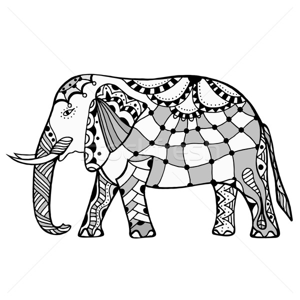 Decorative elephant illustration Stock photo © frescomovie