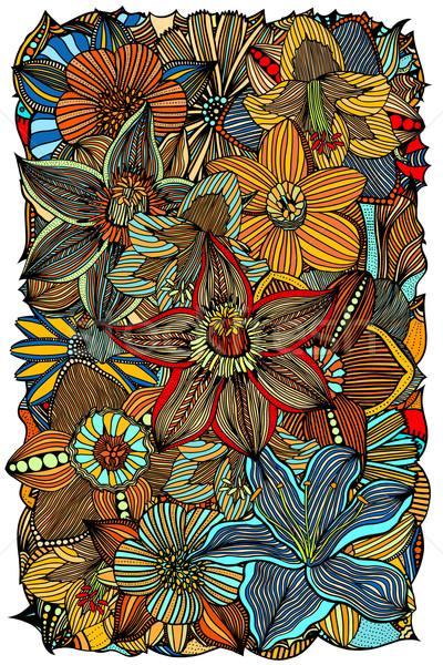 Doodle bloemen etnische gekleurd patroon Stockfoto © frescomovie