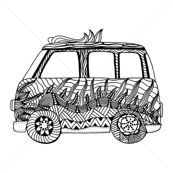 Stock fotó: Régi · autó · mini · furgon · hippi · nyom · rajz