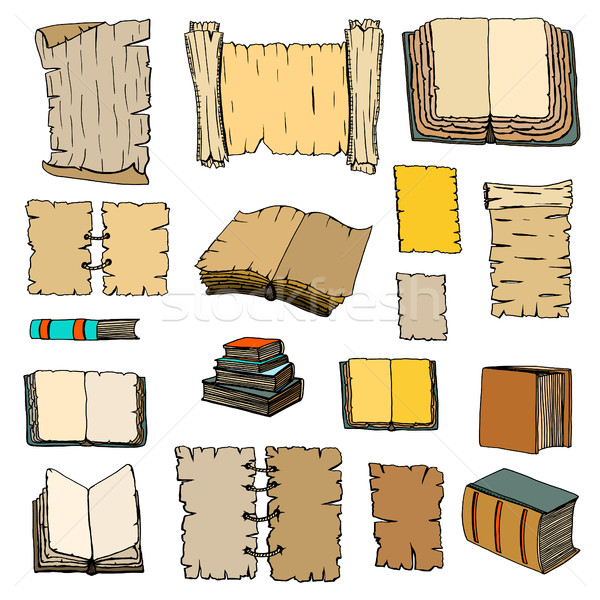 Nagy szett könyvek kézzel rajzolt illusztrációk firka Stock fotó © frescomovie