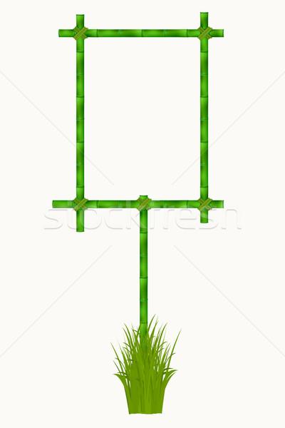 Houten frame oude bamboe hout natuur ontwerp Stockfoto © frescomovie