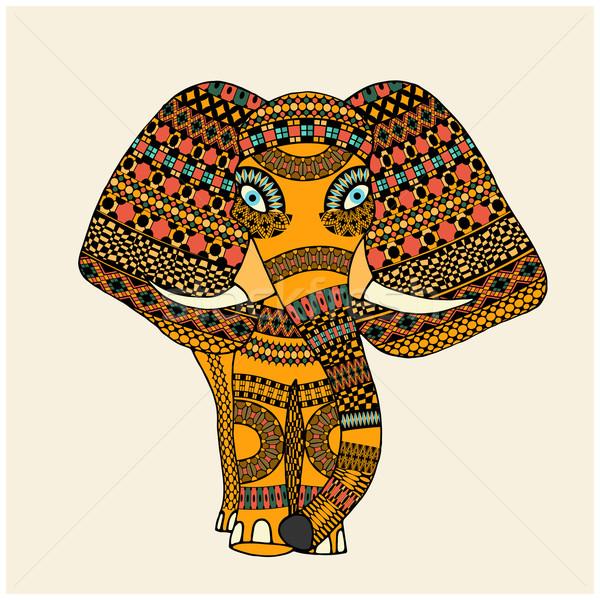 Greeting Beautiful Elephant vector illustration ...