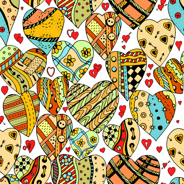 pattern of zentangle hearts Stock photo © frescomovie