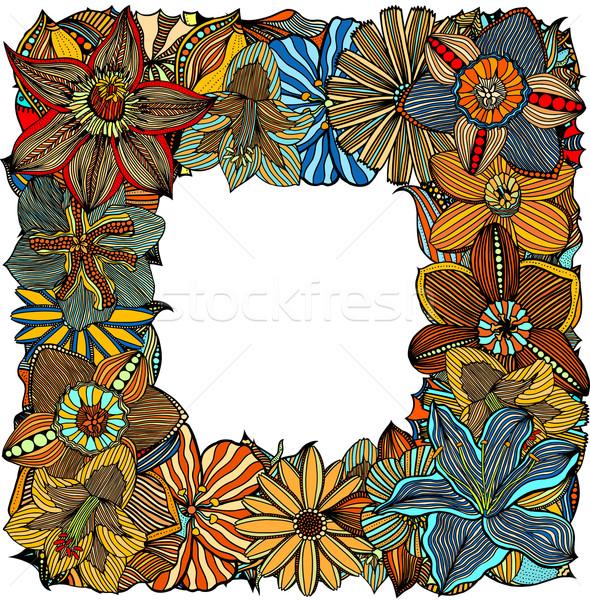 Firka virágok kisebbségi színes virágmintás keret Stock fotó © frescomovie