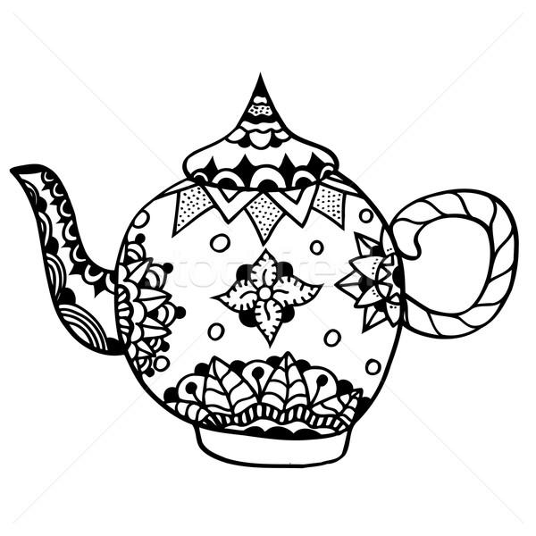 Сток-фото: чайник · изолированный · вектора · рисованной · искусства · цветы