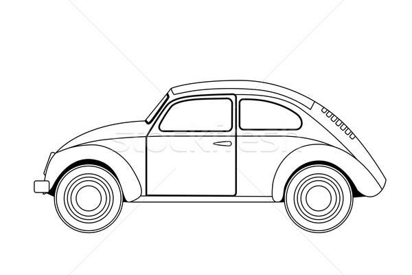 Stary samochód szkic obraz odizolowany samochodu książki Zdjęcia stock © frescomovie
