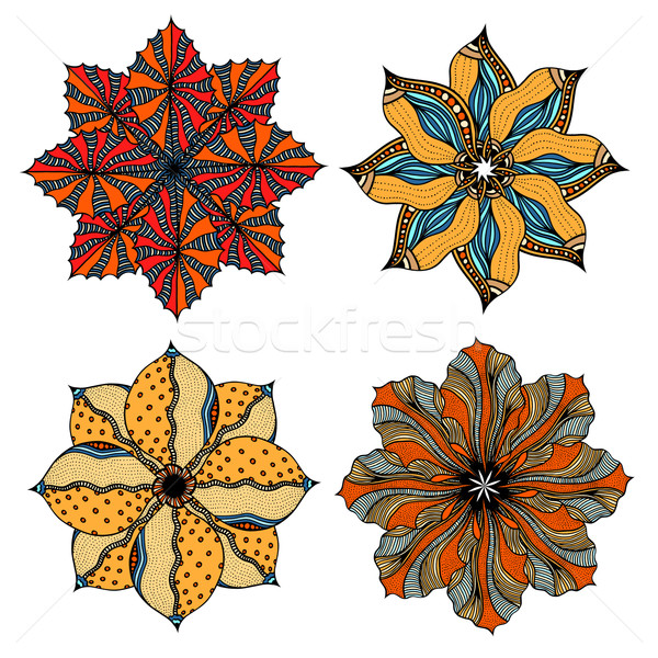 Ornamento establecer mandala geométrico círculo elemento Foto stock © frescomovie