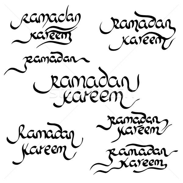 Coleção ramadan moderno caligrafia isolado branco Foto stock © frescomovie