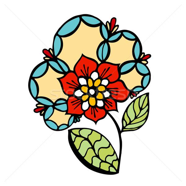 Virág vázlatos színes firka kép terv Stock fotó © frescomovie