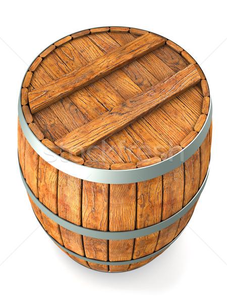 Holz Barrel isoliert weiß 3d render Holz Stock foto © frescomovie