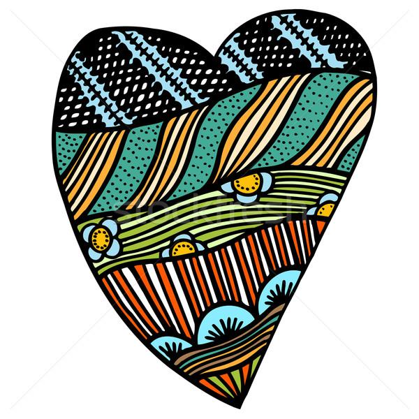 中心 フローラル スタイル バレンタイン 手 図面 ストックフォト © frescomovie