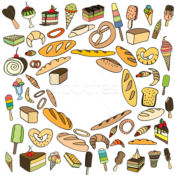 Szett fagylalt kenyér torta vektor firka Stock fotó © frescomovie