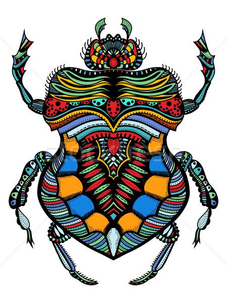 Vektor rovar kézzel rajzolt színes rövidujjú póló terv Stock fotó © frescomovie