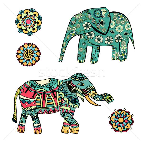 Foto stock: Estilizado · elefante · conjunto · decorativo · tribal