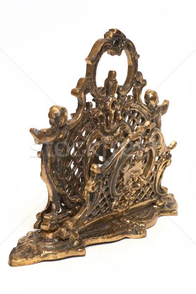 Bronz antik áll szalvéta izolált fehér Stock fotó © frescomovie