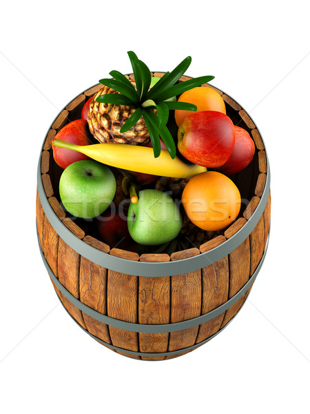 Fruits in a wooden barrel Stock photo © frescomovie