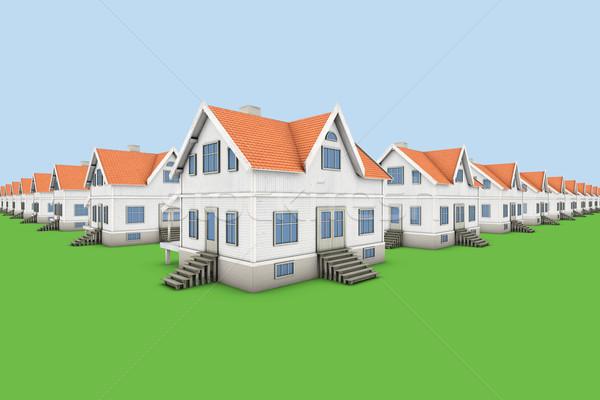 Maisons nouvelle famille maisons maison bois Photo stock © frescomovie