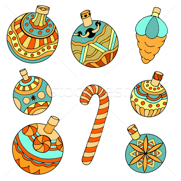 Weihnachten Spielzeug Weihnachtsbaum Doodle Stil isoliert Stock foto © frescomovie