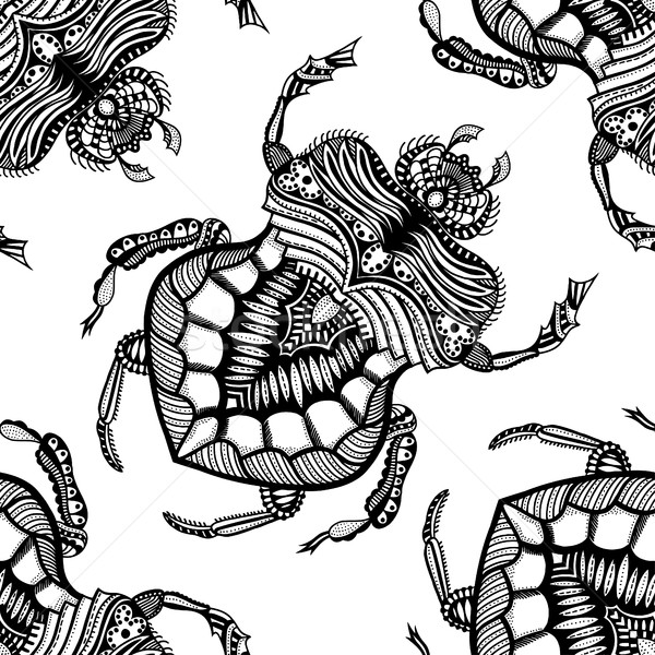рисованной стилизованный жук вектора черно белые Сток-фото © frescomovie