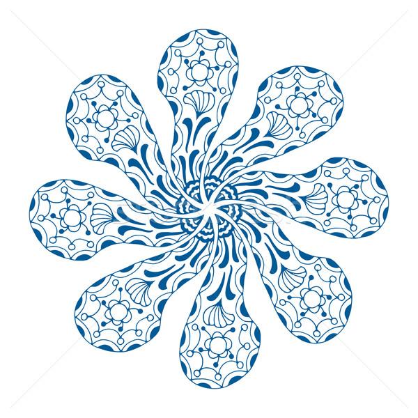 Ornamento isolado branco pintar azul escove Foto stock © frescomovie