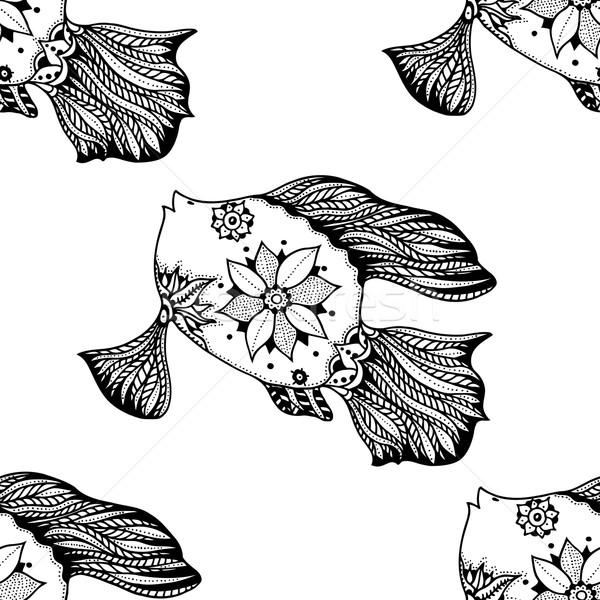 Streszczenie ryb bezszwowy mały roślin Zdjęcia stock © frescomovie