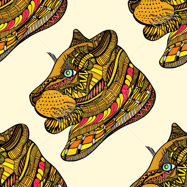 бесшовный тигр шаблон изображение черный Сток-фото © frescomovie