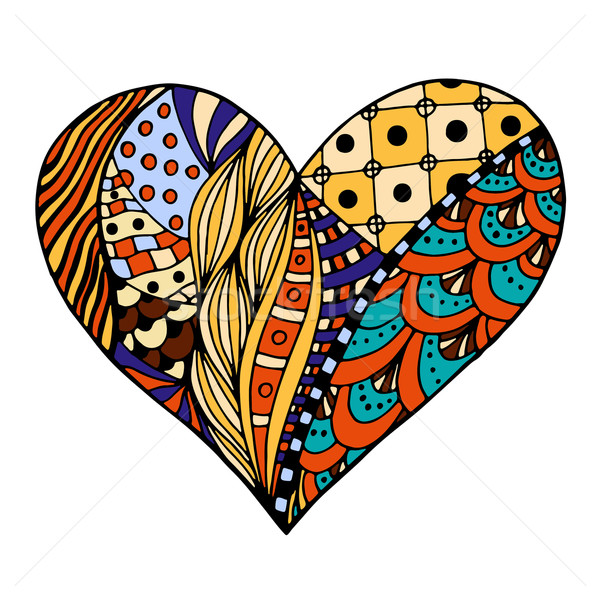 Stock photo: hearts in zentangle style
