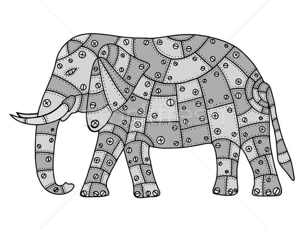 Kézzel rajzolt elefánt szürke fém izolált fehér Stock fotó © frescomovie