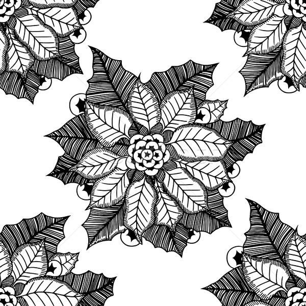Virág karácsony textúra végtelenített kép levél Stock fotó © frescomovie