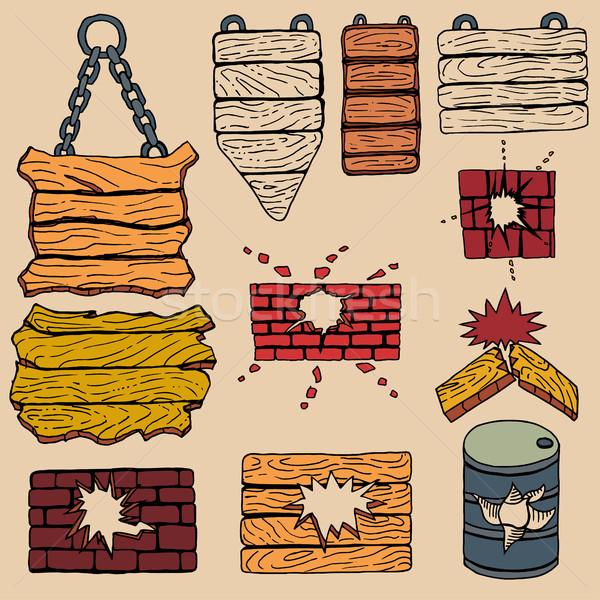 Grunge houten plank gekleurd muur textuur Stockfoto © frescomovie