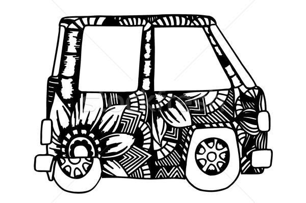 Hippi régi autó mini furgon nyom rajz Stock fotó © frescomovie