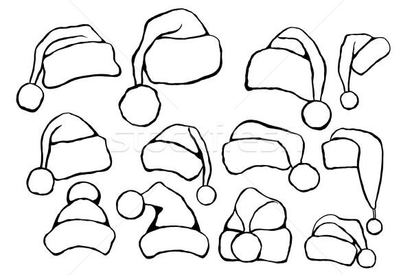 Karalama Noel Baba Ayarlamak Tek Renkli şablon Vektör