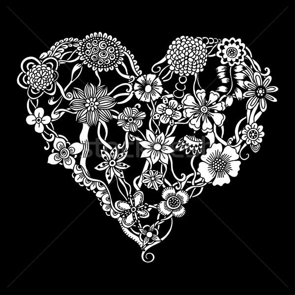 Virágmintás szív firka izolált fekete terv Stock fotó © frescomovie