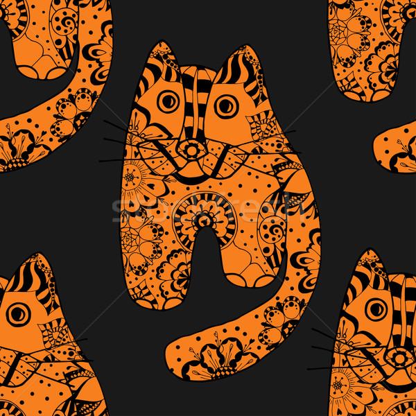Stock fotó: Vicces · macskák · tarka · kézzel · rajzolt · vektor · végtelen · minta
