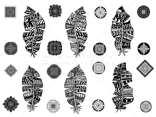 Stockfoto: Ingesteld · veren · witte · vintage · Tribal · doodle