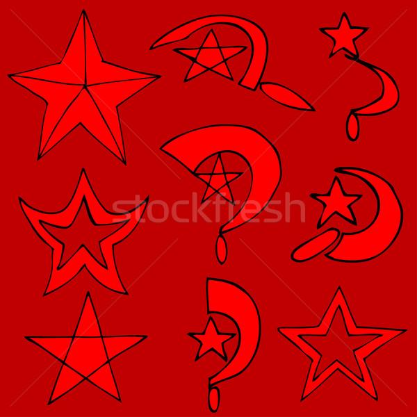 Communist symbolen ingesteld afbeelding business textuur Stockfoto © frescomovie