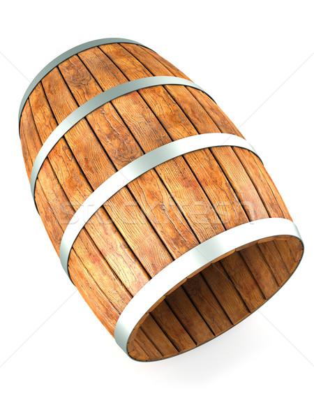 Barril isolado branco 3d render madeira Foto stock © frescomovie