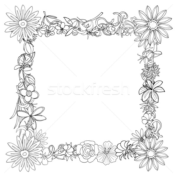 frame of flowers Stock photo © frescomovie