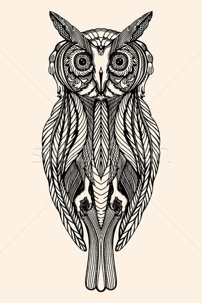 Vektör dekoratif baykuş karalama Stok fotoğraf © frescomovie