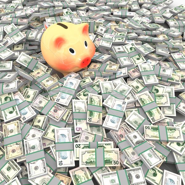 Pink piggy bank standing on a many dollars Stock photo © frescomovie