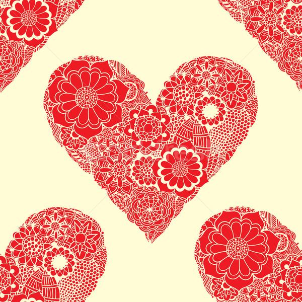 Foto stock: Rabisco · coração · sem · costura · vermelho