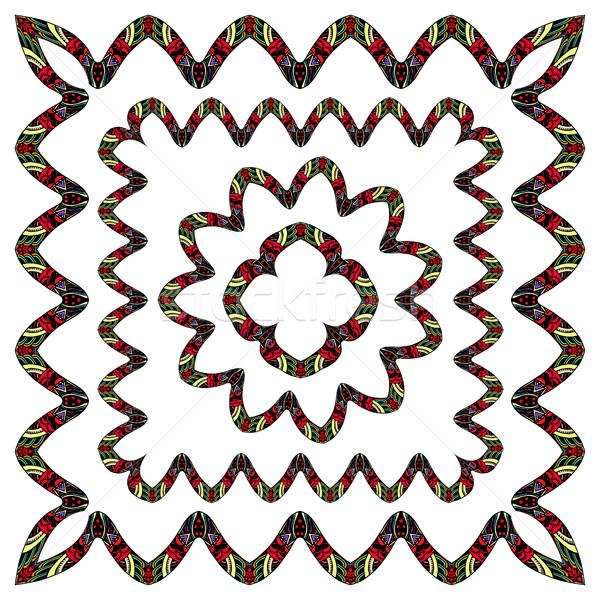 Kézzel rajzolt firka keret szett textúra kéz Stock fotó © frescomovie