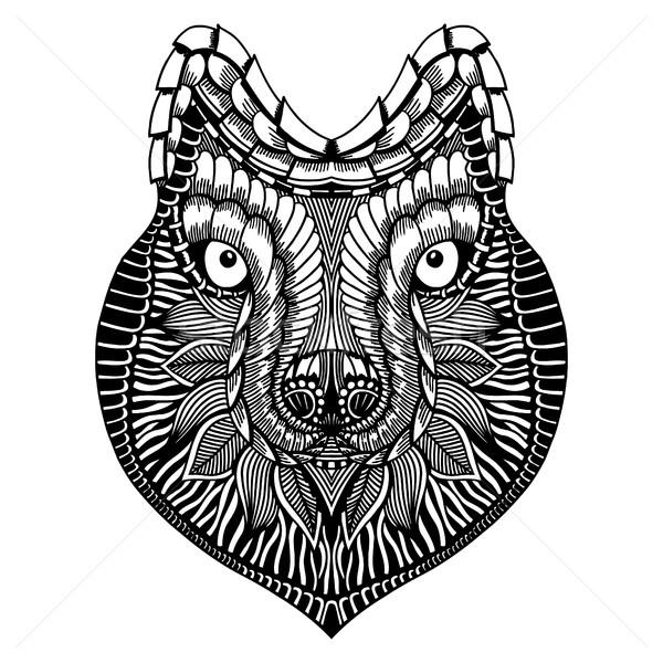стилизованный волка лице рисованной болван высокий Сток-фото © frescomovie