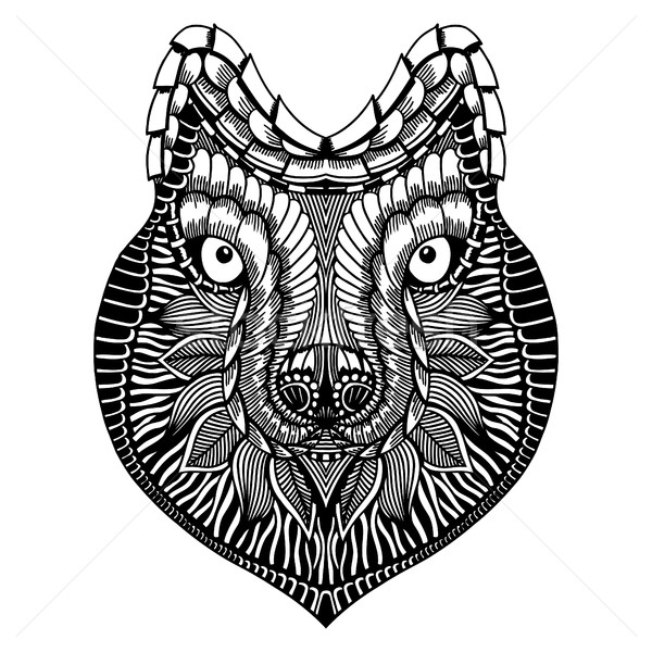 Estilizado lobo cara rabisco alto Foto stock © frescomovie