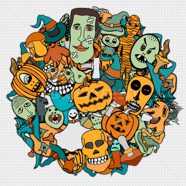 Halloween round illustration. Stock photo © frescomovie